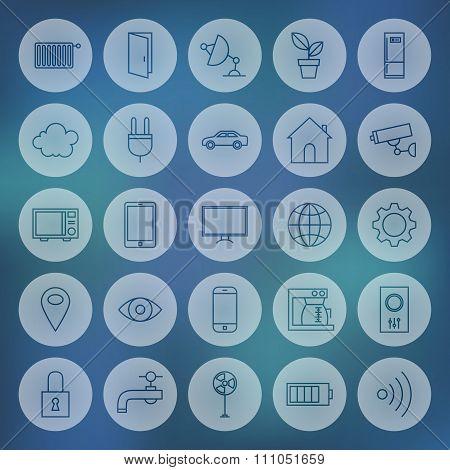 Line Circle Web Internet Of Things Icons Set