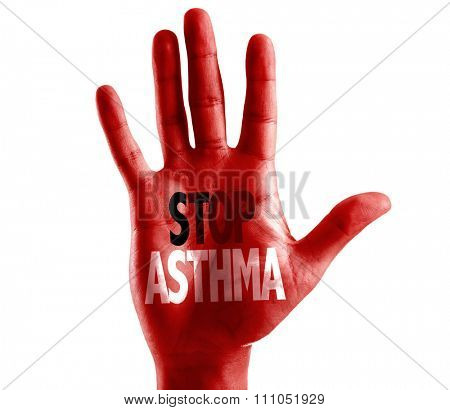 Stop Asthma written on hand isolated on white background