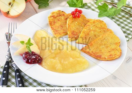 Heart-shaped potato pancakes