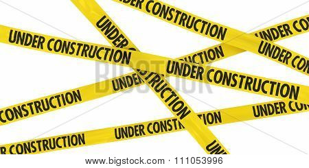 Yellow Under Construction Barrier Tape Background Isolated On White