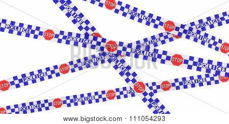 Blue And White Checkered Police Stop Sign Tape Background