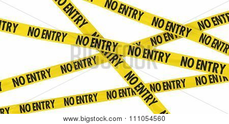 Yellow No Entry Barrier Tape Background Isolated On White