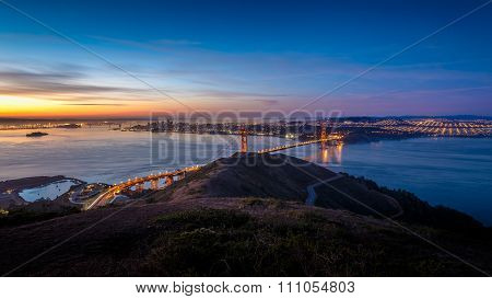 Sunrise At Golden Gate Bridge And City Of San Francisco