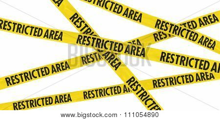 Restricted Area Barrier Tape Background Isolated On White