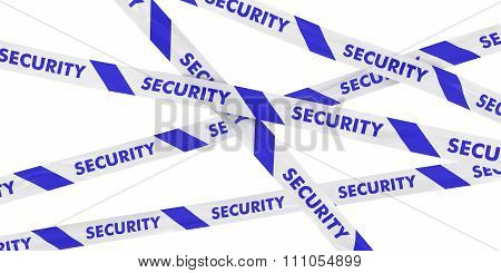 Blue And White Security Barrier Tape Background Isolated On White