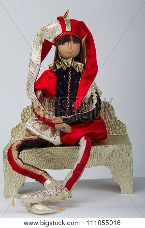 beautiful original handmade doll bright harlequin toy