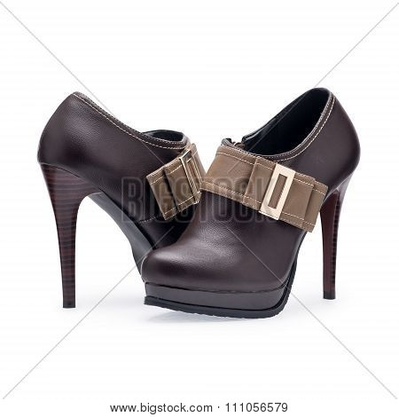 A Pair Of Women's Shoes Brown Stilettos With Metal Buckle