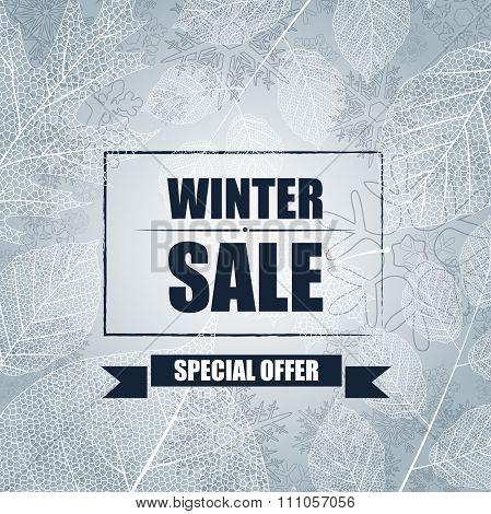 Winter sale banner background