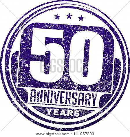 Vintage Anniversary 50 Years Round Grunge Round Stamp. Retro Styled Vector Illustration In Blue Tone