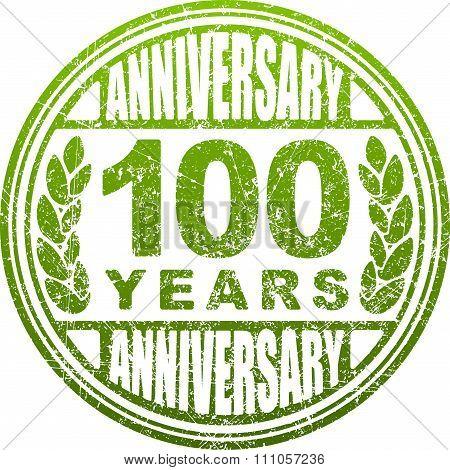 Vintage Anniversary 100 Years Round Grunge Round Stamp. Retro Styled Vector Illustration In Green To