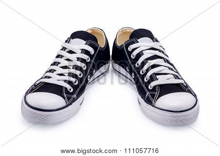 A Pair Of Black Gumshoes With Shoelace