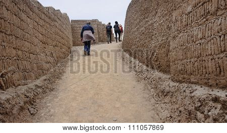 Lima, Peru - November 4, 2015: Old Buildings Of Adobe Bricks In