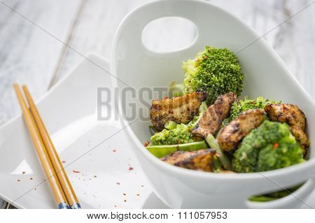 Chicken Broccoli Beans And Snow Peas In A Bowl