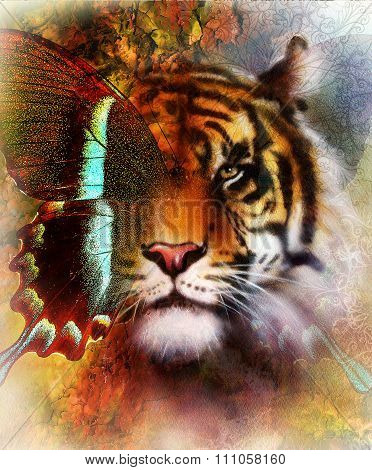 portrait tiger and butterfly wings   Color Abstract background and ornament, vintage and paper struc