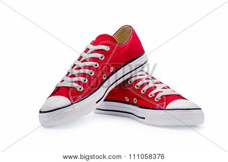 A Pair Of Red Gumshoes With Shoelace