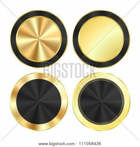 Vector Set Bright Glossy Gold With A Black Background Of Centric Circles Round Of Medals That Can Be