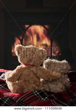 Two scruffy teddy bears sitting by the fire on a tartan blanket