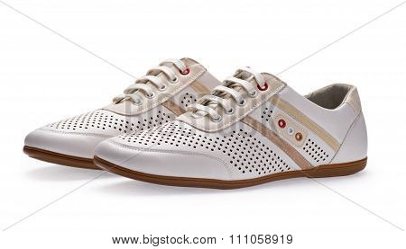 Men's Summer White Elegant Leather Shoes