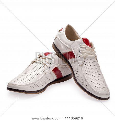 Men's Summer Red-white Elegant Leather Shoes