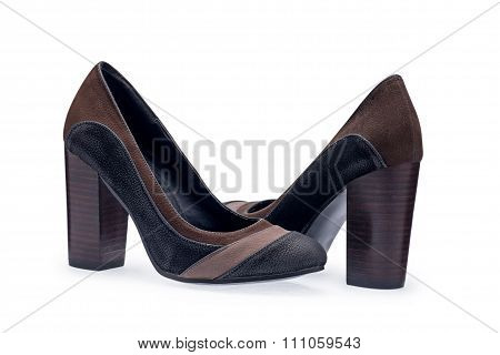 A Pair Of Women's Shoes Black Stilettos With A Decorative Belt