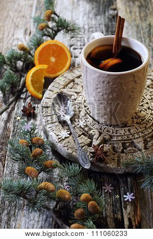 Winter Hot Drink With Cinnamon And Orange
