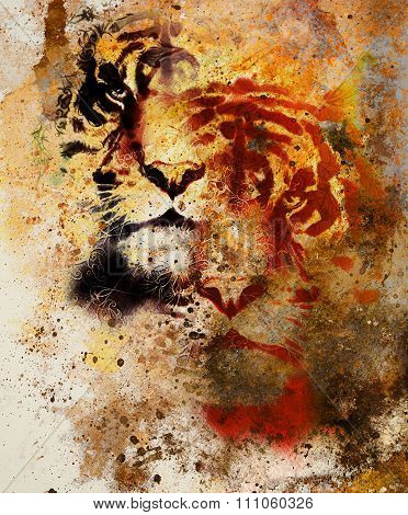 tiger collage on color abstract  background and mandala with ornament , wildlife animals. Brown, ora