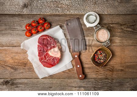 Raw Fresh Cross Cut Veal Shank And Meat Cleaver