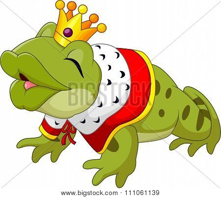 Cartoon funny king frog king blowing a kiss