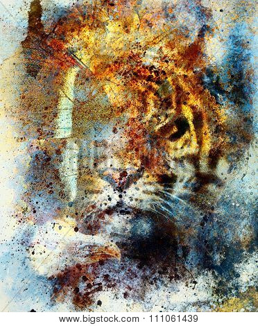 gentle portrait tiger with eagle and butterfly wings.. Color Abstract background and retro, vintage