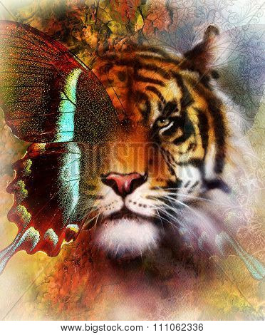 portrait tiger with eagle and butterfly wings.. Color Abstract background and ornament, vintage stru