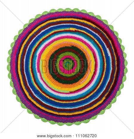 Colorful Knitted Crochet Acrylic Mat On A White Background