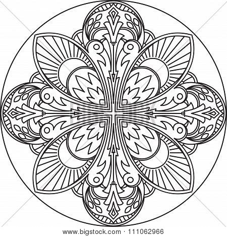 Abstract Vector Black Round Lace Design In Mono Line Style - Mandala, Ethnic Decorative Element. Can