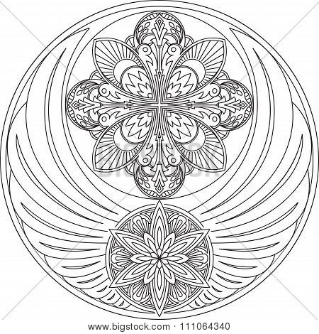 The Unusual Round Design With Wings And Two Mandalas. It Can Be Used For A Logo, Decoration, Tattoos