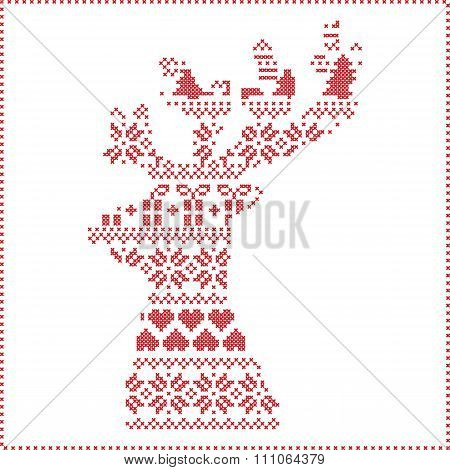 Scandinavian Nordic winter stitching , knitting  christmas pattern in  in reindeer shape shape 2