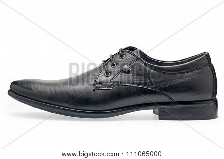A Pair Of Classical Black Leather Shoes For Men, With Shoelaces