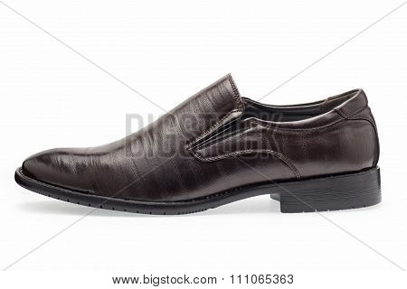 Single Of Classical Brown Leather Shoes For Men, Without Shoelaces
