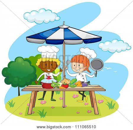 Chefs cooking in the park illustration