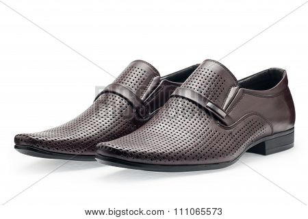 A Pair Of Classical Brown Leather Shoes For Men, Without Shoelaces
