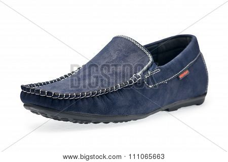 Single Leather Blue Color Male Moccasins