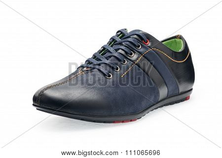Single Leather Dark Blue Color Male Sport Shoes With Shoelaces