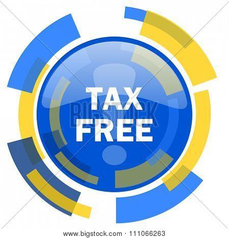 tax free blue yellow glossy web icon