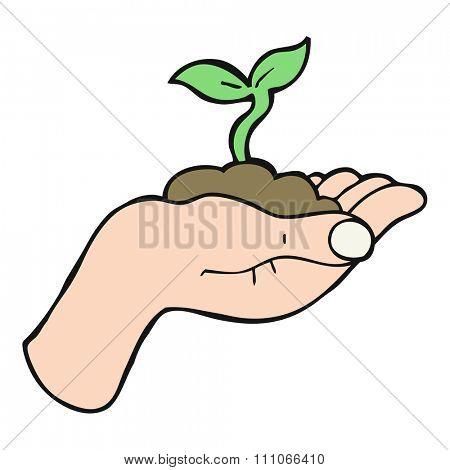 freehand drawn cartoon seedling growing held in hand