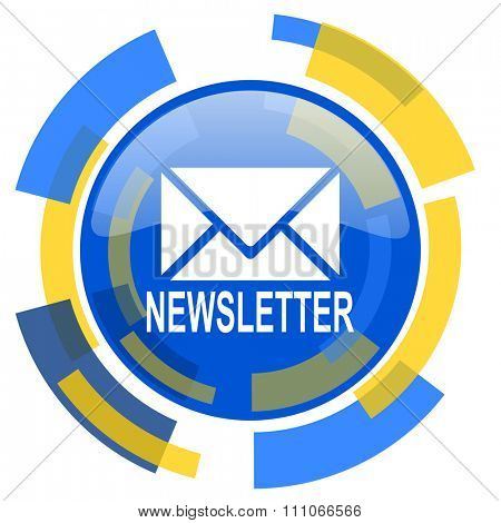 newsletter blue yellow glossy web icon