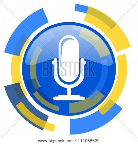microphone blue yellow glossy web icon