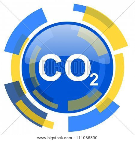 carbon dioxide blue yellow glossy web icon