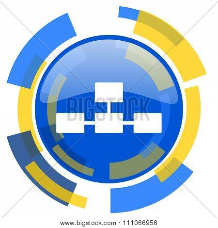 database blue yellow glossy web icon