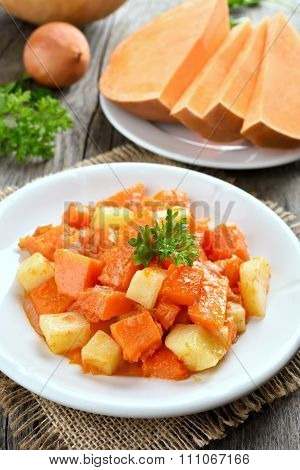 Stew Dish With Pumpkin And Potatoes