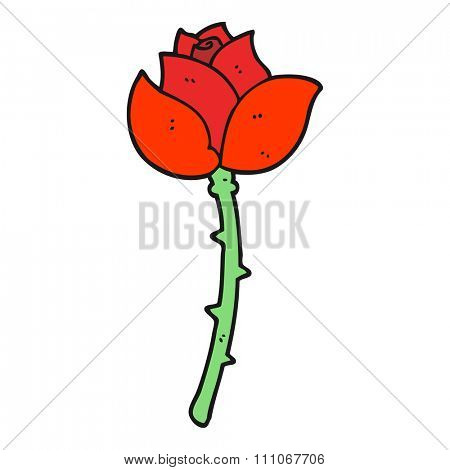 freehand drawn cartoon rose