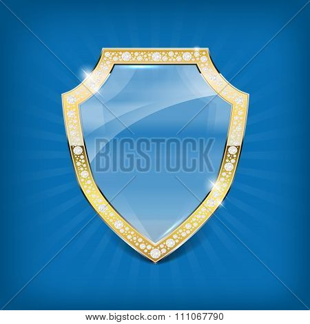 Glass Shield With Gold Frame And Diamonds