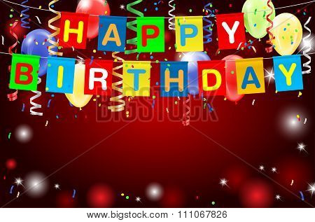 Happy Birthday Party Background With Confetti And Balloons